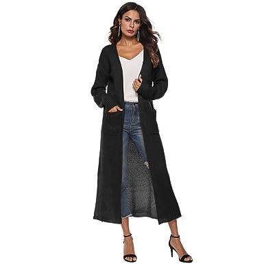 3648a3e396 Sixcup Cardigans for Women Lightweight Long Sleeve Knit Waterfall Open  Front Maxi Long Boyfriend Knitted Cardigan
