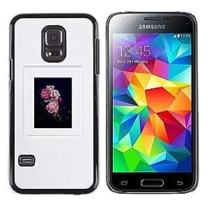 Cartel floral Gris Negro Rosa Naturaleza- Metal de aluminio y de plástico duro Caja del teléfono - Negro - Samsung Galaxy S5 Mini (Not S5), SM-G800
