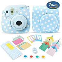 Kamera 7 in 1 Fujifilm Instax Mini 9 8 Accessory Bundle set Gift Pack, Ice Blue Dots instax mini 8 9 Camera Case with Shoulder Camera Strap and more