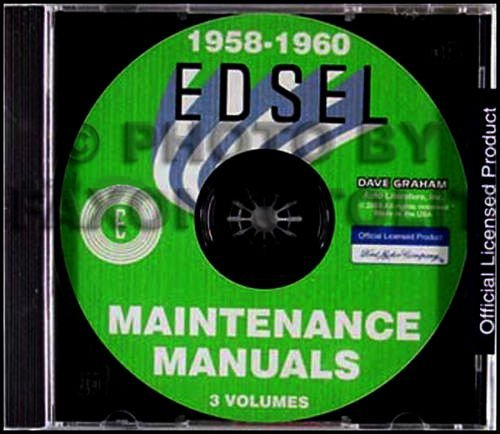 COMPLETE 1958 1959 1960 EDSEL FORD REPAIR SHOP & SERVICE MANUAL CD - For Citation, Corsair, Ranger, Pacer, Bermuda, Villager, and Roundup