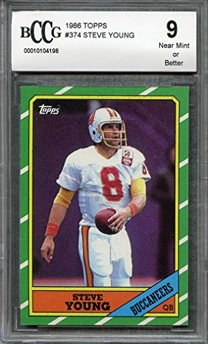- 1986 topps #374 STEVE YOUNG 49ers rookie card (50-50 CENTERED) BGS BCCG 9 Graded Card