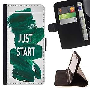 Dragon Case - FOR Samsung Galaxy S6 - just start from here - Caja de la carpeta del caso en folio de cuero del tirš®n de la cubierta protectora Shell