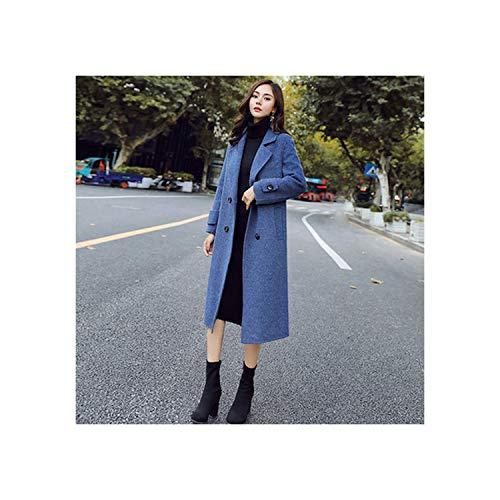 ALIYOUR Women Coat Women Slim Wool Blend Coat Long Trench Coat Outwear Wool Coat,Blue,M (Charex Wool Coat)