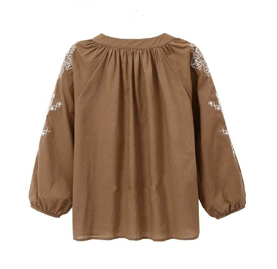 Joe Wenko Women Fashion Top Plus Size Long-Sleeve Embroidery Tee T-Shirt