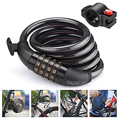 TACKLIFE HCL1C 4-Feet Resettable Combination Bike Cable Self Coiling Bicycle Cable Locks with Complimentary Mounting Bracket, 4 Feet x 1/2 Inch