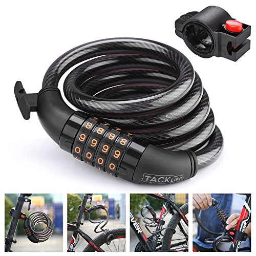 TACKLIFE Bike Lock, HCL1C 4-Feet Resettable Combination Bike Cable Self Coiling Bicycle Cable Locks with Complimentary Mounting Bracket, 4 Feet x 1/2 (Professional Sport Grill Box)