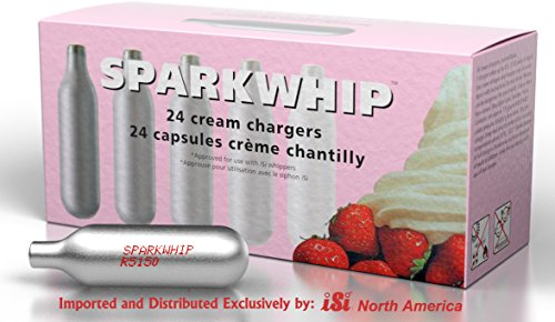 iSi North America 058299 Sparkwhip 24 Pack Cream Whipper Charger, Silver ()