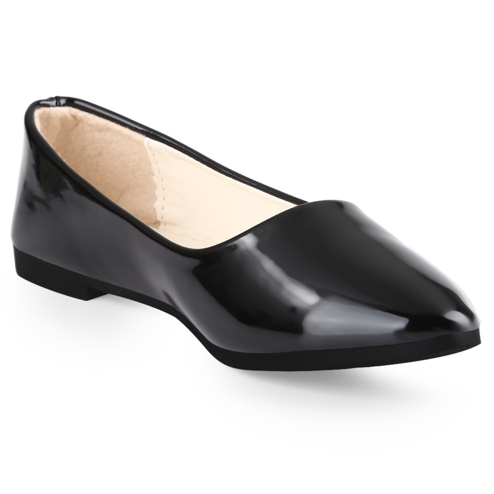 Casual Pure Color Patent Leather Flat Shoes for Women
