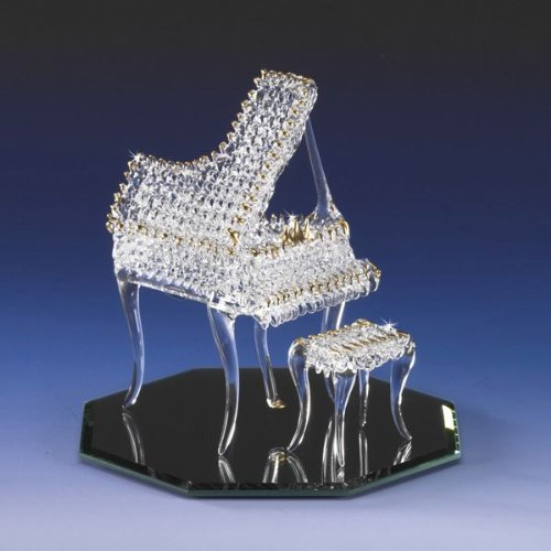 ShabbyChicTreasurz Collectible Miniature Grand Piano Lacework Spun Crystal 22k Gold Trimmed Accents Sparkles