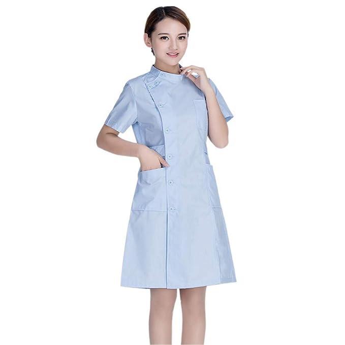 ESENHUANG Mujeres Enfermera Uniforme De Manga Corta Ropa Médica Bata De Laboratorio Traje De Trabajo Vestido Ropa De Hospital Blanco Rosa Azul: Amazon.es: ...