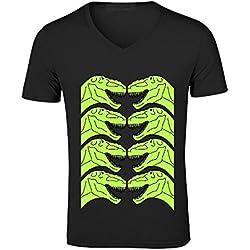 Likeu T Rex Fashion Men V Neck Print T Shirt Black