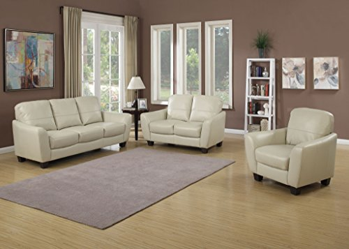 AC Pacific Sawyer Collection Contemporary 3-Piece Upholstered Living Room Set with Sofa, Loveseat, and Chair, Eggshell