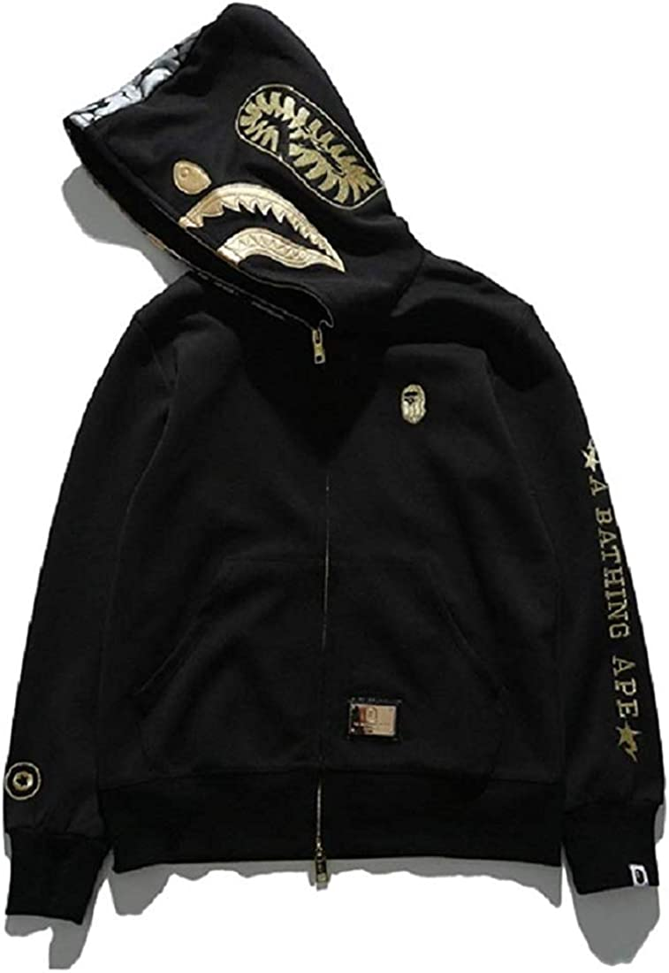 GROEDF Shark Ape Bape Camo Mens Women Hoodies Sweatershirt Casual Zip Up Hip-Hop Funny Tops