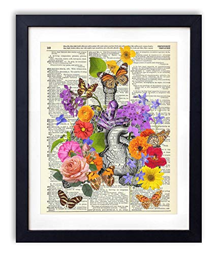 Heart and Lungs With Flowers, Butterflies & Crystals Upcycled Vintage Dictionary Art Print 8x10