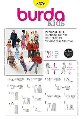 Burda Craft fácil 8576 - Barbie estilo patrón de costura para vestidos de muñecas Tamaños: