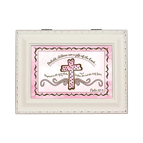 Cottage Garden Baby Girl Baptism Ivory Inspirational Traditional Music Box Plays Jesus Loves Me by Cottage Garden (Image #1)