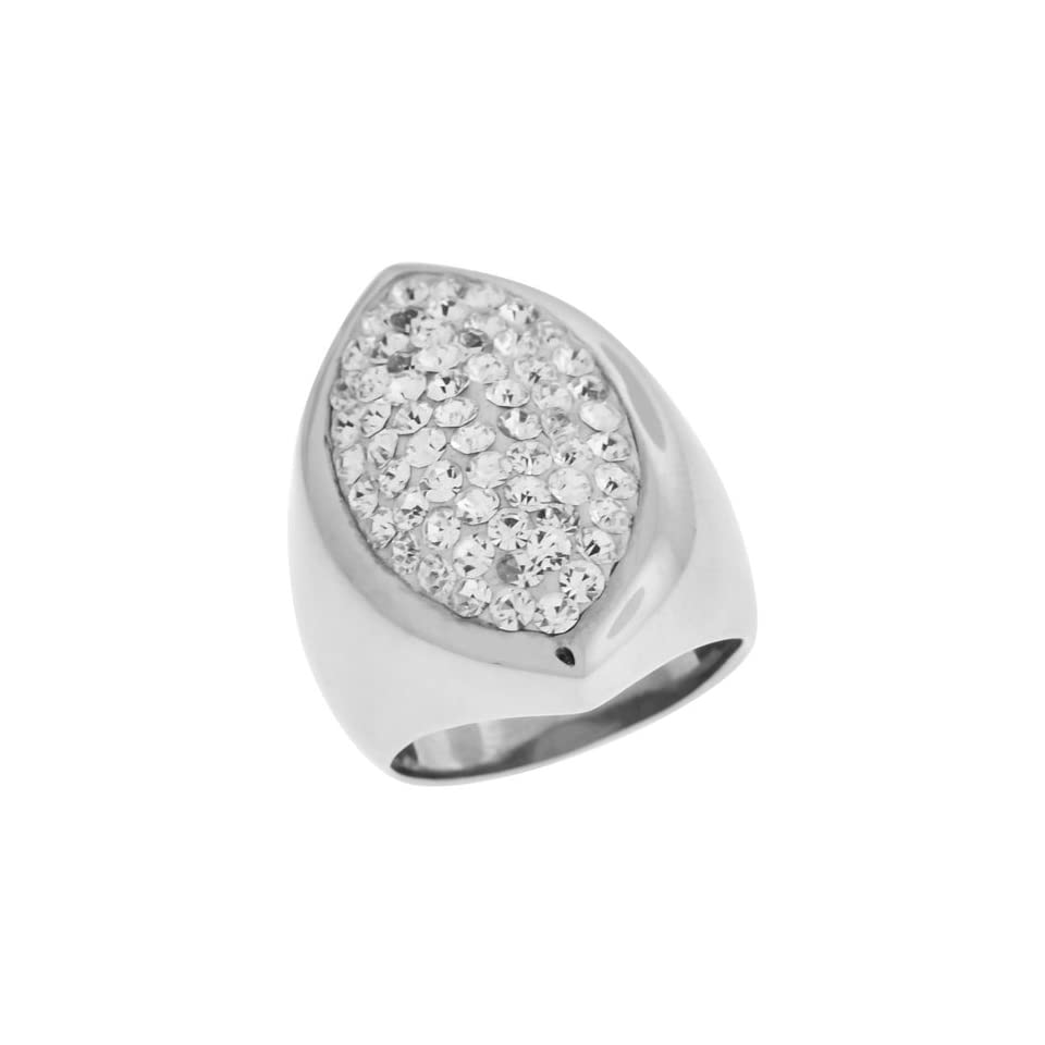 Size 8   Inox Jewelry Womens Pear Shaped cz 316L Stainless Steel Ring