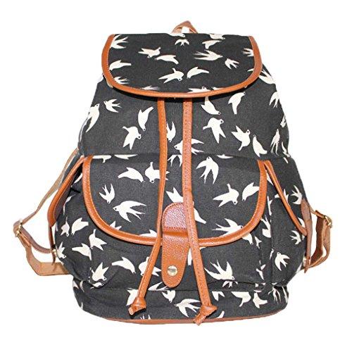 Vintage Floral Ladies Canvas Bag School Bag Backpack - 1