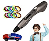 Pagreberya 3D Printing Pen 3D World Scientic Explorer for Kids, Children at Home and School Class with Christmas Gift Box and 3 Color Filament Free - Metallic Silver
