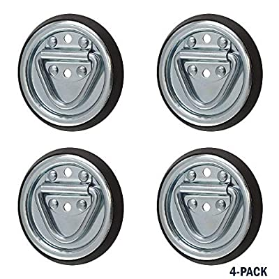 SPEP.com 4 Pack D Ring Steel Tie-Downs - Floor Flush Surface Mount with Black Bases - Tiedown Breaking Load of 1,200 Pounds: Automotive