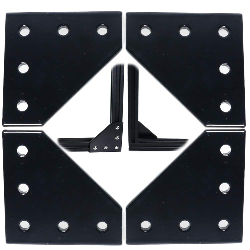 Boeray 4pcs Black L Shape 3030 Aluminum Extrusion Corner Bracket Plate 5-Hole 90 Degree 30 x 30mm Outside Joining Plate