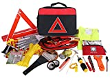 Thrive Roadside Assistance Auto Emergency Kit + First Aid Kit – Square Bag - Contains Jumper Cables - Tools - Reflective Safety Triangle More. Ideal Winter Accessory Your car - Truck - Camper