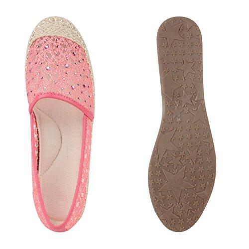 Stiefelparadies Damen Espadrilles Glitzer Bast Slipper Cut-Outs Schuhe Flandell Rosa Steinchen