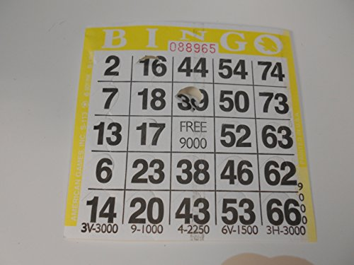 1 on Pushout Bingo Paper Cards - Yellow - 250 cards