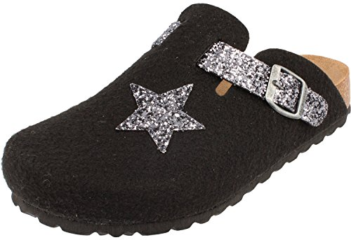 BONOVA pour anthracite Femme Mules Black Glitter azCafrwq