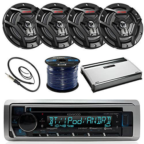 "Kenwood KMR-D365BT Marine Boat Radio Stereo CD Player Receiver Bundle Combo With 4x JVC CS-DR6200M 6.5"" 2-Way Coaxial Speakers + 360-Watt Amplifier + Enrock Radio Antenna + 50 Foot 16g Speaker Wire"