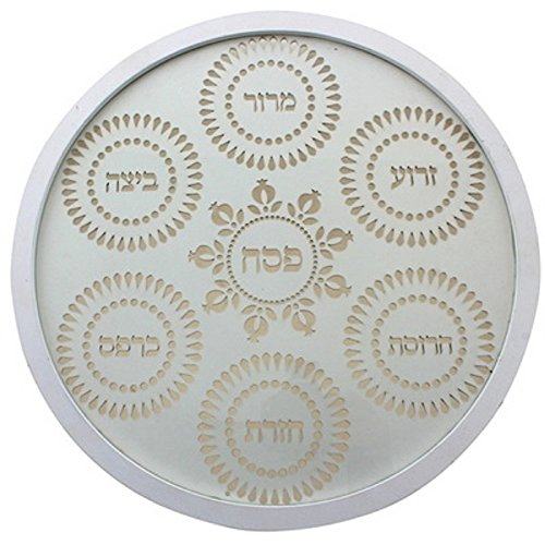 Passover Plate Matzah (Laser Cut Wooden Seder Plate for Passover with Glass Bowls)