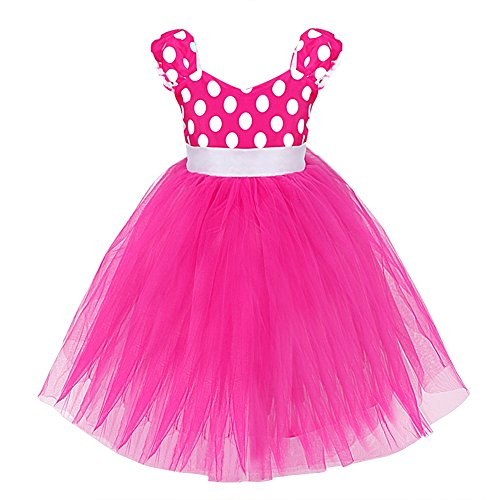 YiZYiF Baby Girls' Polka Dots Dresses Christmas Party Costume Birthday Tutu Dress Up Hot Pink 4T (Fancy Dress Costume)