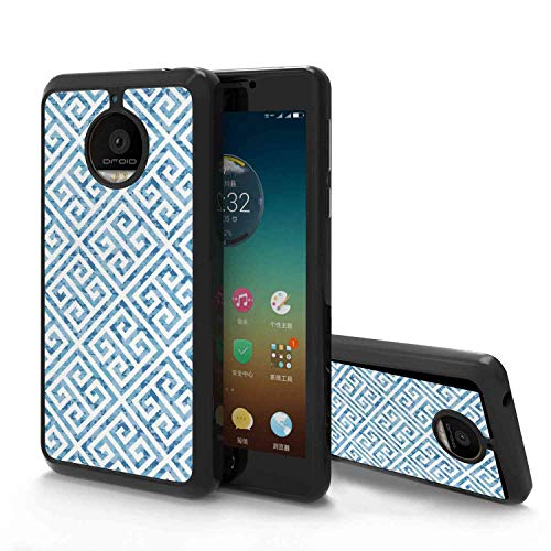 (Motorola Moto E4 Plus Soft Phone Case (2017) 5.5in Greek Key Tile Mosaic Pattern in Blue and White with Antique Meander and Camo Effect Baby Blue White)