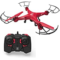 Drone with Camera Skyking S-08C RC Quadcopter Vedio Recording 6-Axis Gyro FCC Warranty Red Toy Flying Drones for Kids