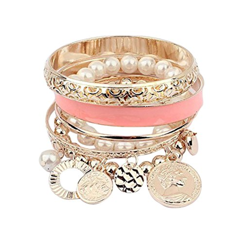 Bolayu 1Sets Hollow Bracelet Fashion New Style Girls Exquisite Coin Pearl Jewelry (Pink)