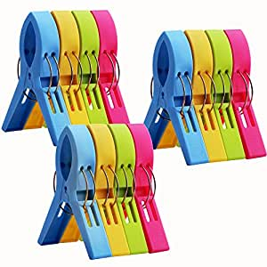 12 Pack Ipow Towel Clips Plastic-Jumbo Size,4 Fun bright colors - for Beach Chairs or Pool Lounges,Heavy Duty Clips to Keep Your Towels,Clothes,Quilt,Blanket from Blowing Away or Sliding Down