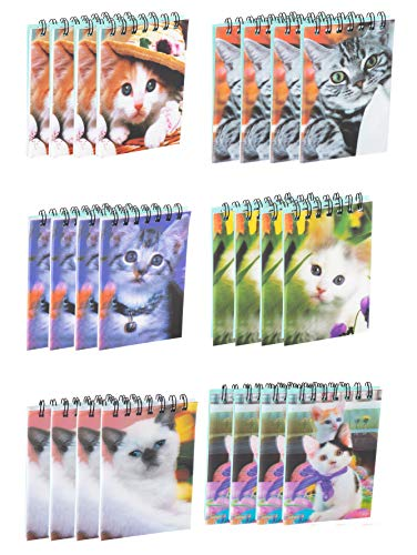 Spiral Notepads - 24-Pack Mini Top Spiral Notebooks for Note Taking, To-do Lists, Kids Party Favors, Lined Paper, 6 Cats 3D Cover Designs, 55 Pages Each, 2.75 x 4.25 Inches]()