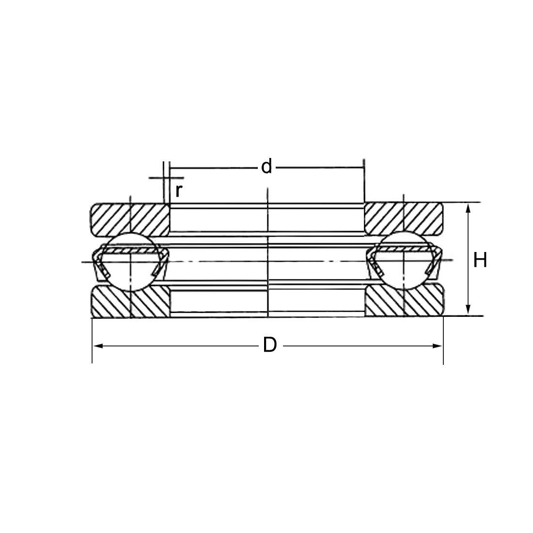 sourcing map 51100 Single Direction Thrust Ball Bearings 10mm x 24mm x 9mm Chrome Steel