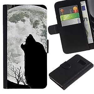 Billetera de Cuero Caso Titular de la tarjeta Carcasa Funda para Samsung Galaxy S6 SM-G920 / Wolf Hauling Moon Wild Trees Nature Animal / STRONG