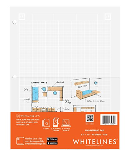 Case of 24 Whitelines App Engineering Computational Pads, 8.5''x11'', Grey Grid White Paper, 80 sheets, 3 Hole punch, Enclosed Grid printing by WhiteLines (Image #11)