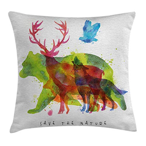 (Ambesonne Animal Decor Throw Pillow Cushion Cover, Alaska Animals Bears Wolfs Eagles Deers in Abstract Colored Shadow Like Print, Decorative Square Accent Pillow Case, 20 X 20 Inches, Multicolor)