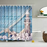 Nautical Shower Curtains ABxinyoule Wooden Lighthouse Conch Fish Net Shower Curtain for Bathroom Nautical Decor Fabric Waterproof Mildew Bathroom Accessory