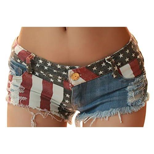 New BYWX-Women Casual Low Rise Waist American Flag Summer Denim Shorts supplier