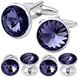 HAWSON Cufflink and Studs Tuxedo Set Silver Color with Swarovski Crystals in Purple