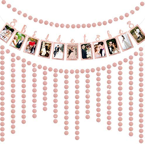 Bride to Be Photo Banner Rose Gold Foiled Photograph Bunting Garland with Rose Gold Hanging Confetti Dots Paper Glitter Garland Bunting for Wedding Sign Bridal Shower Banner Hen Night Decoration