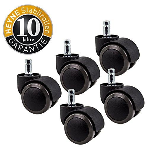 Heyne STABIL 5x Hartbodenrollen 10 mm / 50 mm Bürostuhlrollen für Hartböden - Lauffläche grau