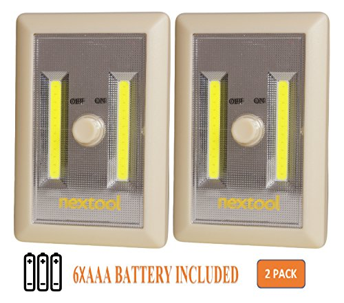 [New Arrival] 2-Pack Dimmable Battery Operated COB LED Cordless Switch Light, Adjustable Brightness, Tap Light, Battery Operated LED Night Lights, 6 AAA Batteries & Adhesive Strips Included, Cream