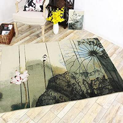 MeMoreCool Beautiful Oil Painting Style Rectangle Area Rugs Various Floral Patterns TPR Eco-friendly Anti-slipping Design Machine Washable Lotus 52 X 75 Inch