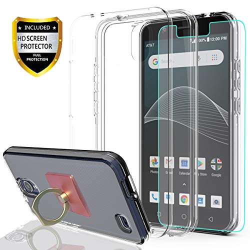 AT&T AXIA Case (QS5509A),Cricket Vision Case with HD Screen Protector with Phone Ring Holder,YmhxcY [Hard PC Back and TPU Dual-Layer Clear] Kickstand Protective Cover for AT&T AXIA-JM - Protector Screen Cricket