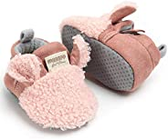 TIMATEGO Newborn Baby Boys Girls Cozy Fleece Booties with Grippers Stay On Slipper Socks Infant Toddler Crib Winter Shoes fo